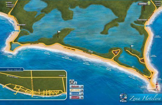 Mapa de la zona hotelera en Cancún