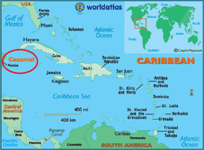 Isla Cozumel en Cancún Mapa