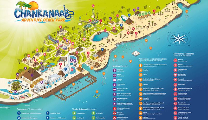 Parque Chankanaab Beach Adventure Park en Cancún Mapa