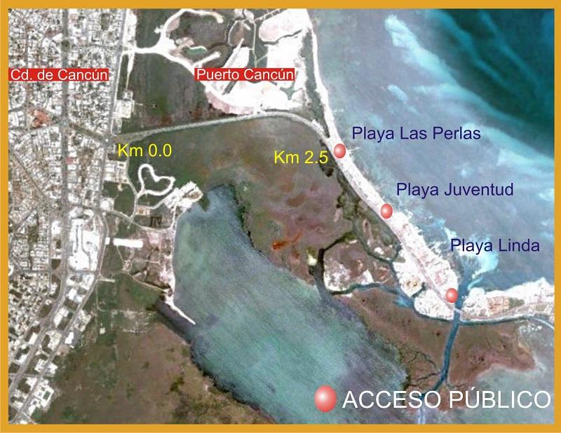 Mapa de Playa Las Perlas en Cancún